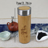 Stainless Steel Bamboo Travel Thermos Cup Vacuum Flask