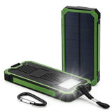 Travel Waterproof Solar Power Bank Dual USB External Battery Solar Charger Powerbank With LED Camp Light