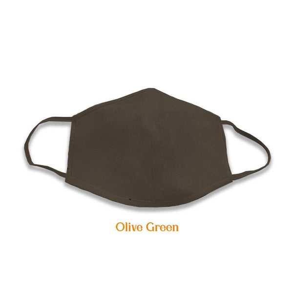 2 layer multicoloured cotton masks, Olive Green