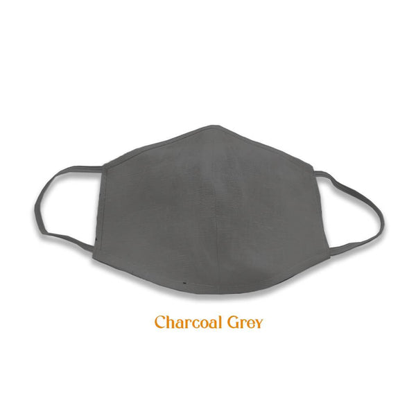 2 layer multicoloured cotton masks, Charcoal Grey
