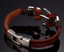 Stainless Steel Anchor Bracelet For Men Genuine Cow Leather