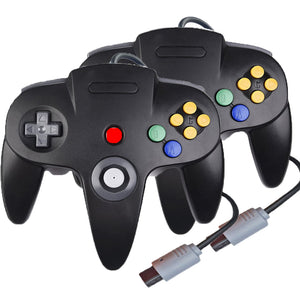 Family 4 Pack 1.8m/6FT Nintendo Retro N64 Controllers, Black, White, Grey, Gold 1