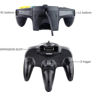 Family 4 Pack 1.8m/6FT Nintendo Retro N64 Controllers, Black, White, Grey, Gold 4