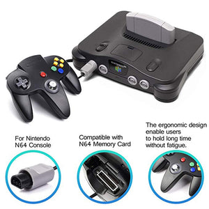 Family 4 Pack 1.8m/6FT Nintendo Retro N64 Controllers, Black, White, Grey, Gold 7