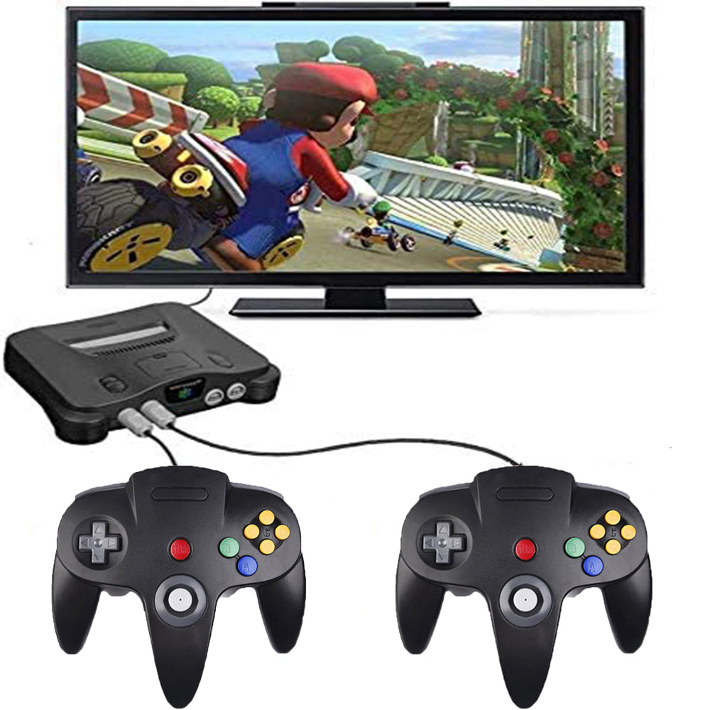 Family 4 Pack 1.8m/6FT Nintendo Retro N64 Controllers, Black, White, Grey, Gold 8