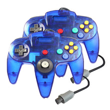 Load image into Gallery viewer, 2 Pack N64 Wired Controller for Retro Nintendo 64 - Transparent Blue 0