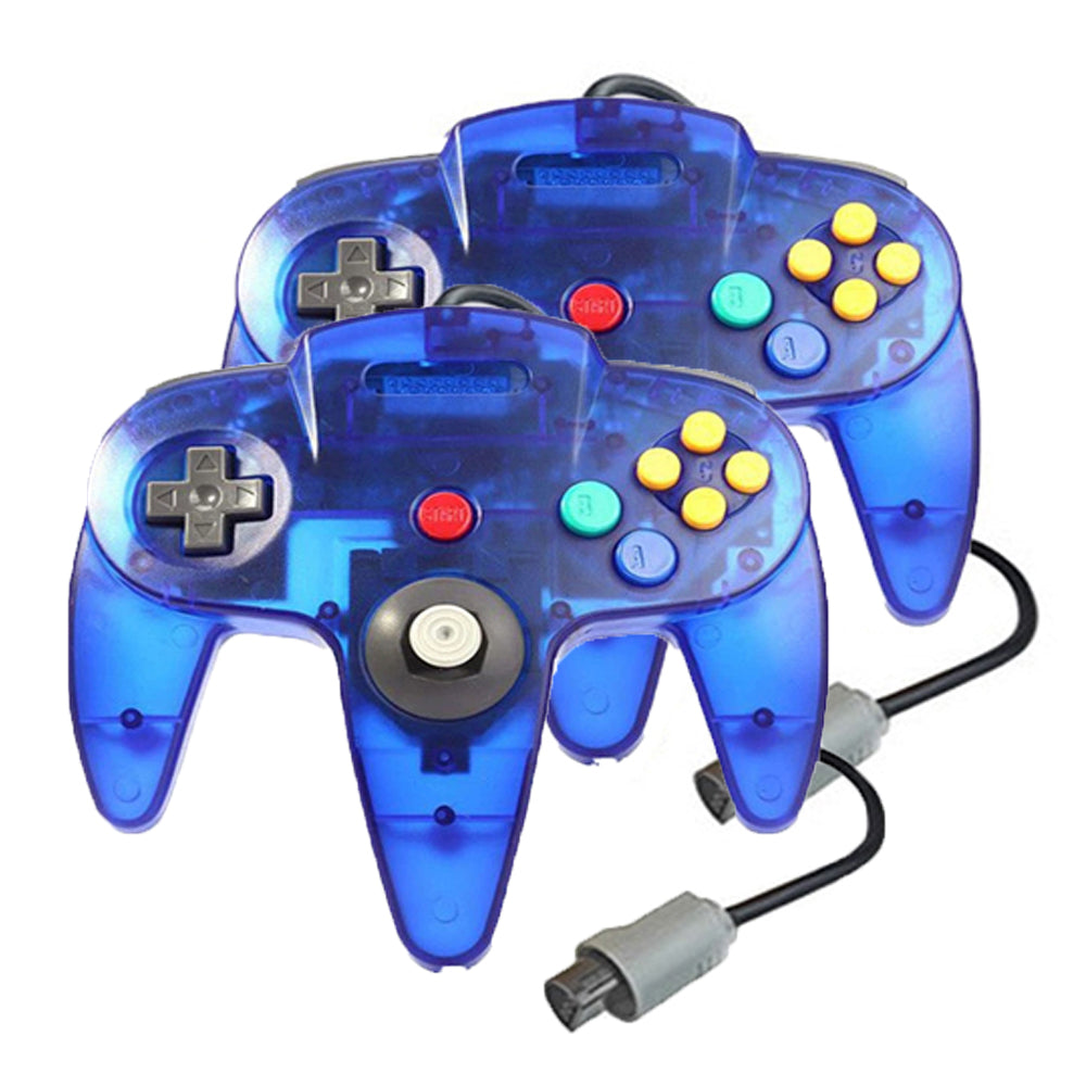 2 Pack N64 Wired Controller for Retro Nintendo 64 - Transparent Blue 0