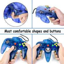 Load image into Gallery viewer, 2 Pack N64 Wired Controller for Retro Nintendo 64 - Transparent Blue 1