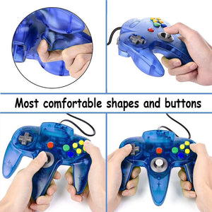 2 Pack N64 Wired Controller for Retro Nintendo 64 - Transparent Blue 1