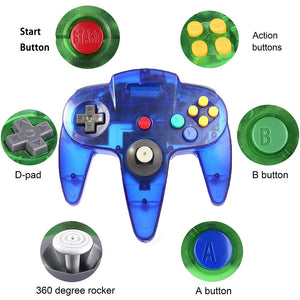 2 Pack N64 Wired Controller for Retro Nintendo 64 - Transparent Blue 2