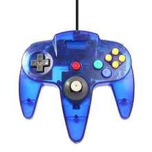Load image into Gallery viewer, 2 Pack N64 Wired Controller for Retro Nintendo 64 - Transparent Blue 3