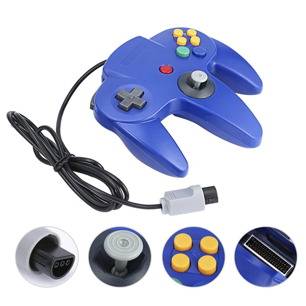 Family 4 Pack 1.8m/6FT Nintendo Retro N64 Controllers, Black, White, Orange, Blue 7