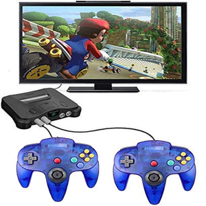 2 Pack N64 Wired Controller for Retro Nintendo 64 - Transparent Blue 6