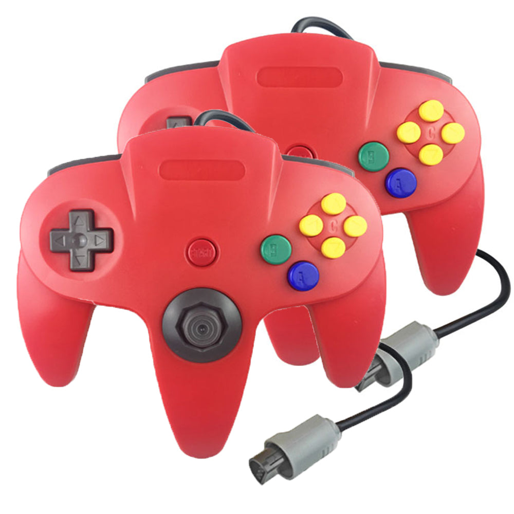 Family 4 Pack 1.8m/6FT Nintendo Retro N64 Controllers, Red, Yellow, Black, White, Green 2