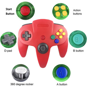 Family 4 Pack 1.8m/6FT Nintendo Retro N64 Controllers, Red, Yellow, Black, White, Green 1