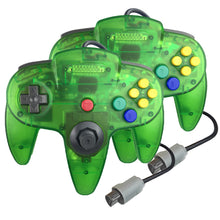 Load image into Gallery viewer, 2 Pack N64 1.8m/6FT Controllers for Retro Nintendo Gaming - Clear Green 0