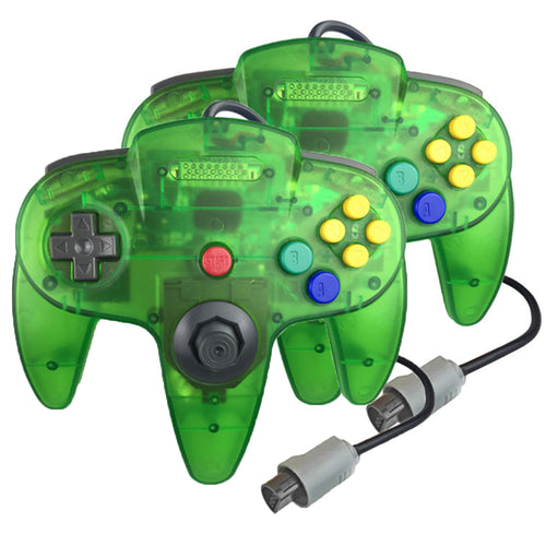 2 Pack N64 1.8m/6FT Controllers for Retro Nintendo Gaming - Clear Green 0