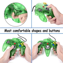 Load image into Gallery viewer, 2 Pack N64 1.8m/6FT Controllers for Retro Nintendo Gaming - Clear Green 1