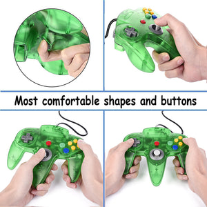2 Pack N64 1.8m/6FT Controllers for Retro Nintendo Gaming - Clear Green 1