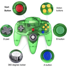 Load image into Gallery viewer, 2 Pack N64 1.8m/6FT Controllers for Retro Nintendo Gaming - Clear Green 2