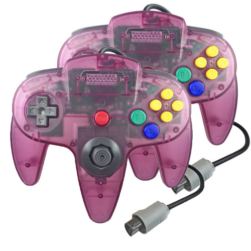 2 Pack N64 1.8m/6FT Controllers for Retro Nintendo Gaming - Clear Purple