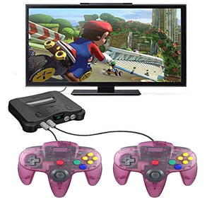 2 Pack N64 1.8m/6FT Controllers for Retro Nintendo Gaming - Clear Purple 3