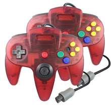 Load image into Gallery viewer, 2 Pack N64 1.8m/6FT Controllers for Retro Nintendo Gaming - Clear Red 0