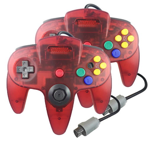 2 Pack N64 1.8m/6FT Controllers for Retro Nintendo Gaming - Clear Red 0