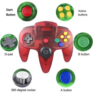 2 Pack N64 1.8m/6FT Controllers for Retro Nintendo Gaming - Clear Red 1