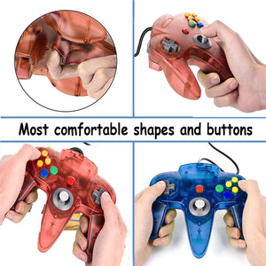 2 Pack N64 1.8m/6FT Controllers for Retro Nintendo Gaming - Clear Red 2