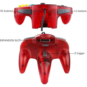 2 Pack N64 1.8m/6FT Controllers for Retro Nintendo Gaming - Clear Red 4