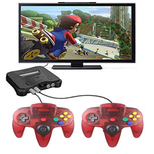 Load image into Gallery viewer, 2 Pack N64 1.8m/6FT Controllers for Retro Nintendo Gaming - Clear Red 6