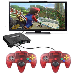 2 Pack N64 1.8m/6FT Controllers for Retro Nintendo Gaming - Clear Red 6