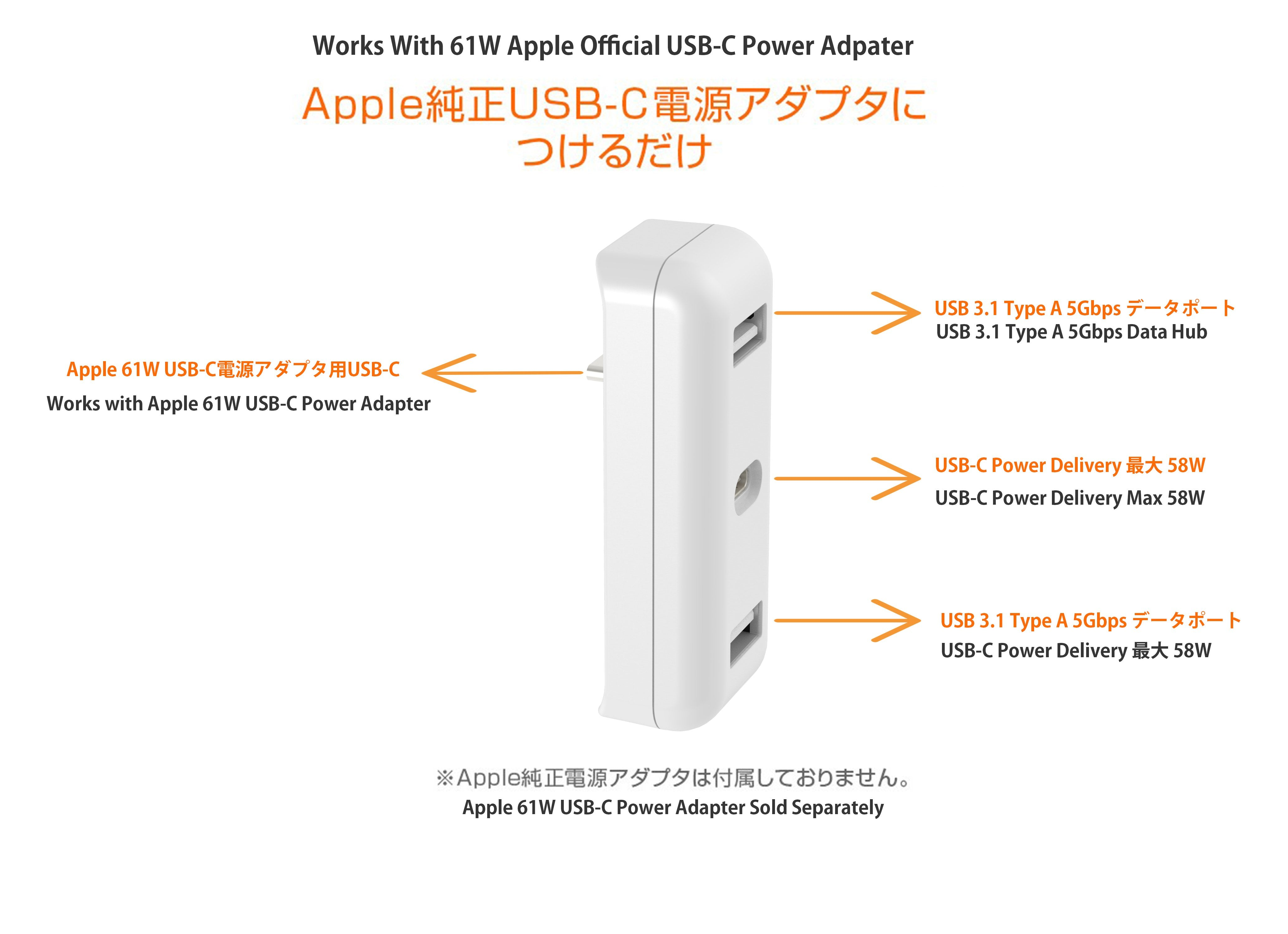 Power Adapter USB-C High-Speed-Charge-and-Sync Hub Works for 2016-2019 Release MacBook Pro 13-inch's 61W Charger 4