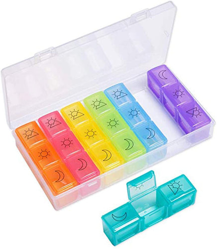 3 Times a Day Weekly Medicine Pill Organizer Case