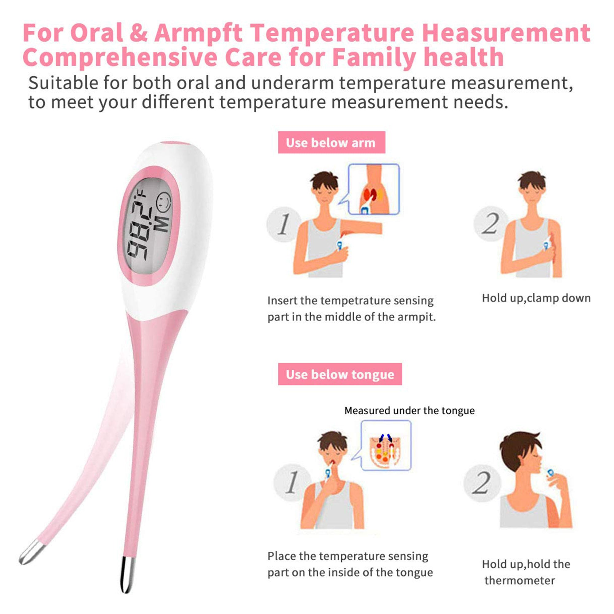 8 Seconds Fast Reading Soft Head Oral Digital Thermometer Pink 1