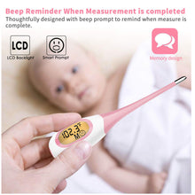 Load image into Gallery viewer, 8 Seconds Fast Reading Soft Head Oral Digital Thermometer Pink 8