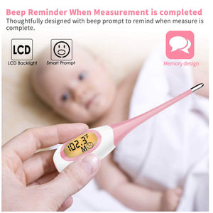 8 Seconds Fast Reading Soft Head Oral Digital Thermometer Pink 8