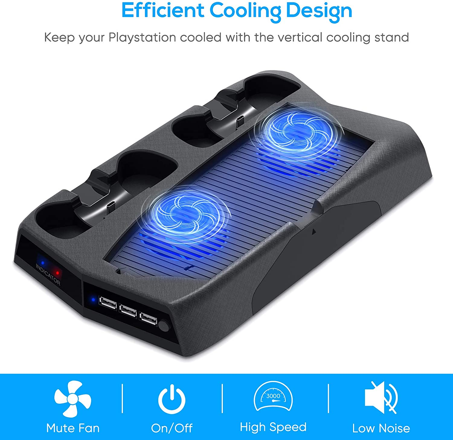 Bedroom Decor for PS5 Playstation 5 Console Cooling Stand Charging Station 2