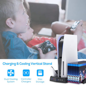 Bedroom Decor for PS5 Playstation 5 Console Cooling Stand Charging Station 13