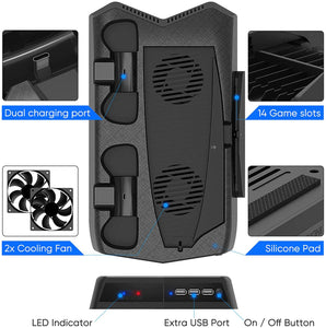 Bedroom Decor for PS5 Playstation 5 Console Cooling Stand Charging Station 3