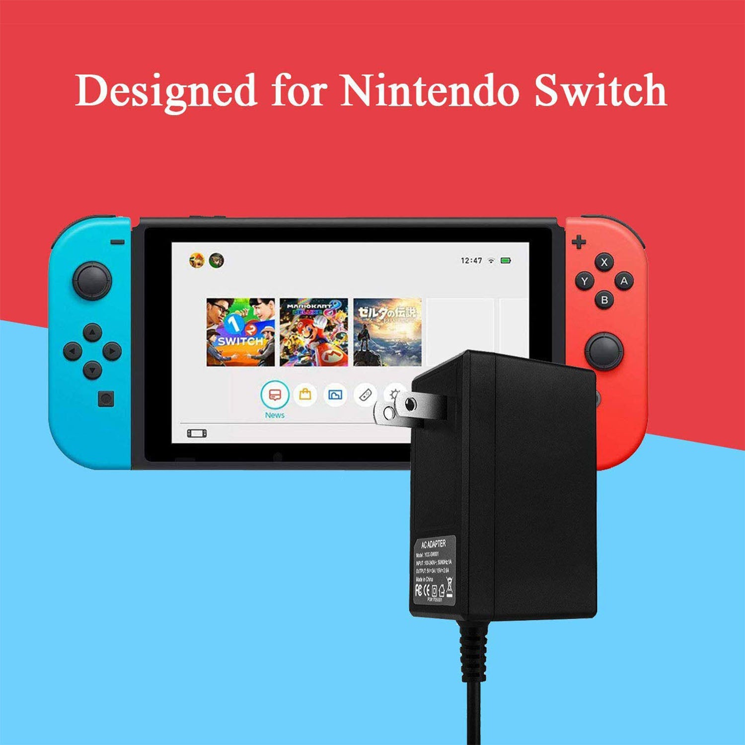 Games TV Mode Supports Dual-Voltage AC Charger for Nintendo Switch 2
