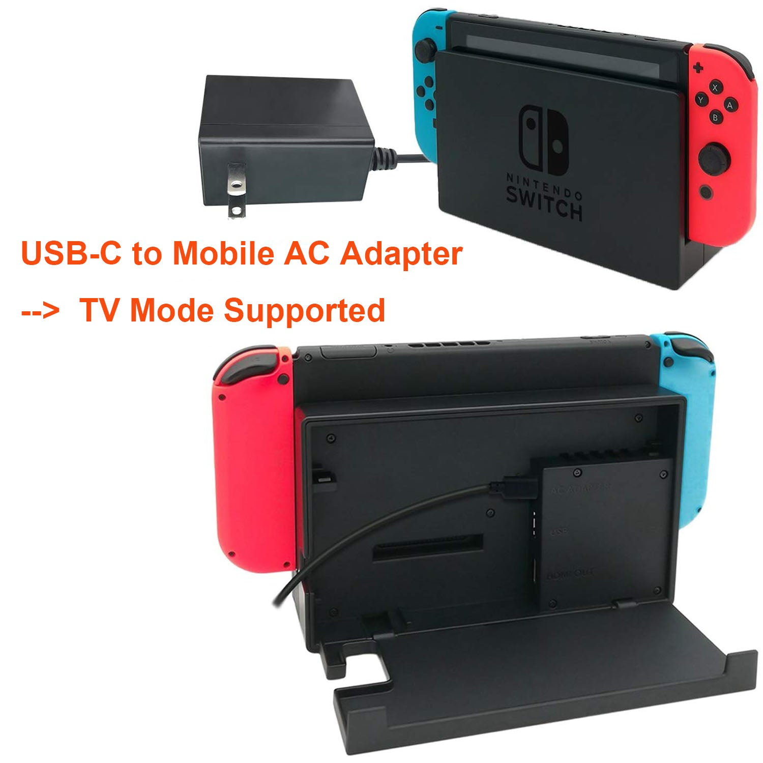 Games TV Mode Supports Dual-Voltage AC Charger for Nintendo Switch 4