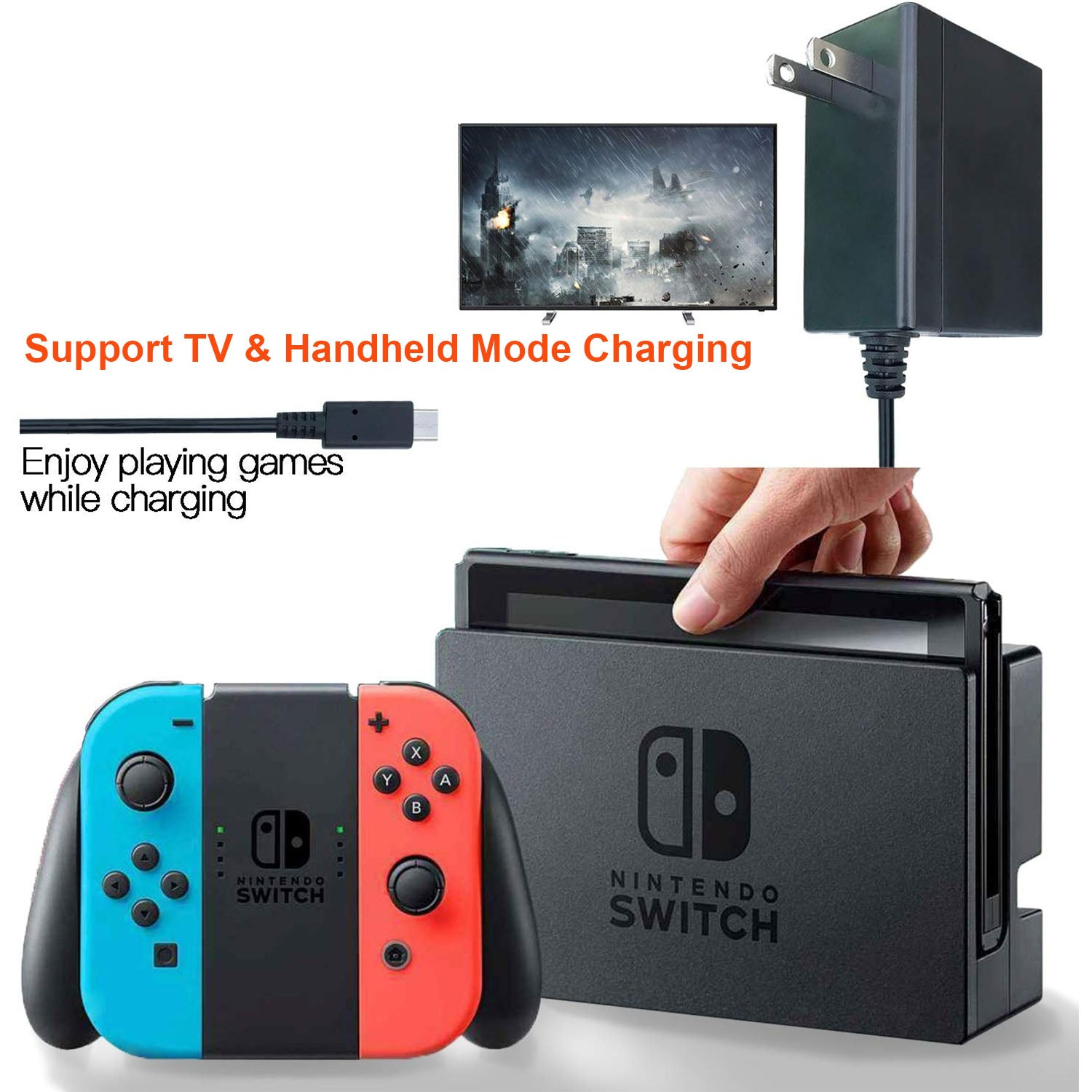Games TV Mode Supports Dual-Voltage AC Charger for Nintendo Switch 8