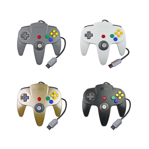 Family 4 Pack 1.8m/6FT Nintendo Retro N64 Controllers, Black, White, Grey, Gold 0