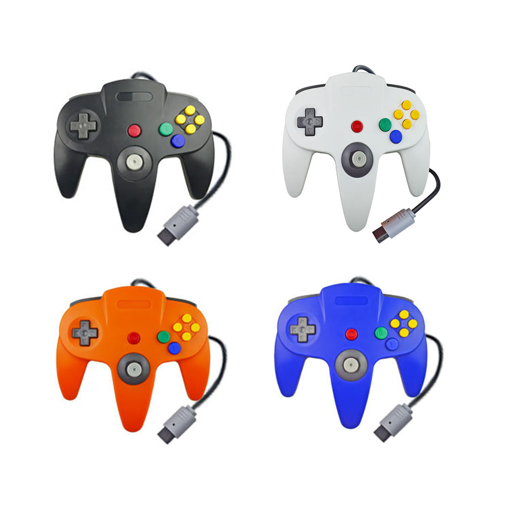 Family 4 Pack 1.8m/6FT Nintendo Retro N64 Controllers, Black, White, Orange, Blue 0