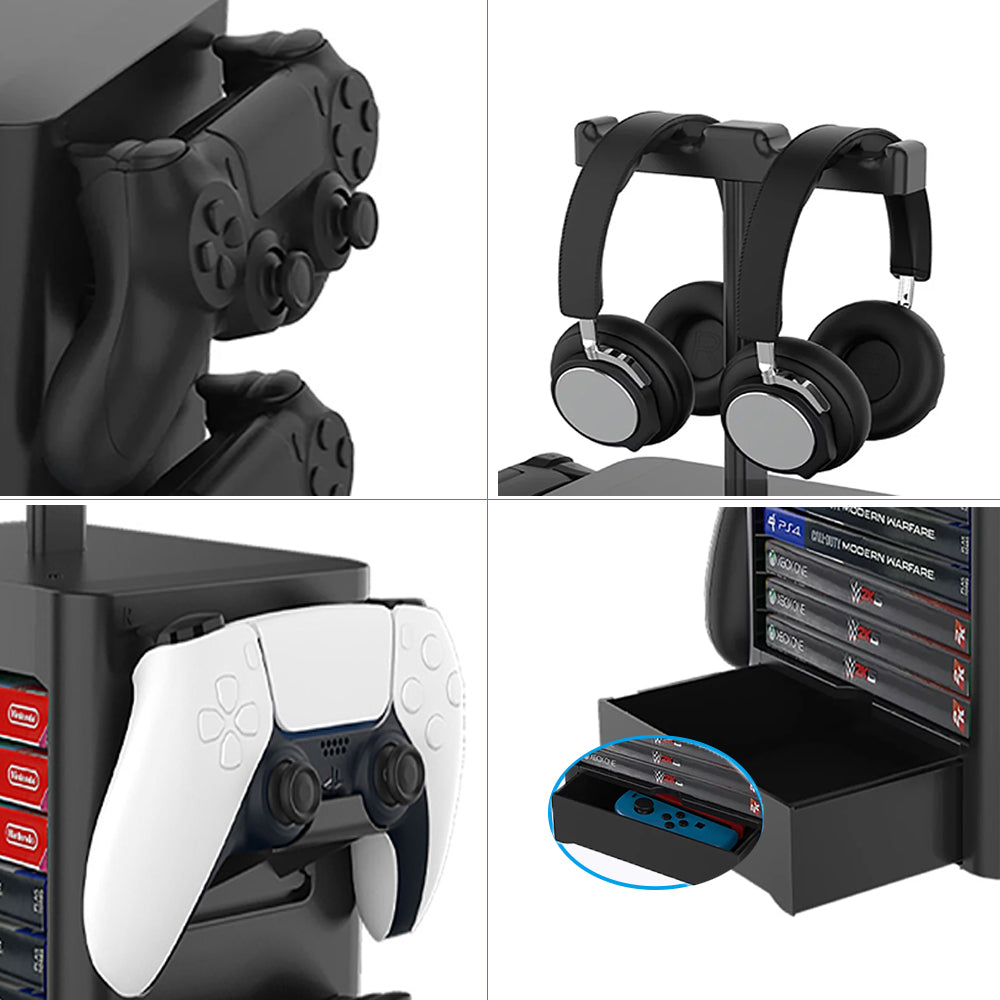 Game Room Decor Gaming Storage Tower Stand for Playstation PS5, Xbox X Headphone Hanger