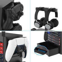 Load image into Gallery viewer, Game Room Decor Gaming Storage Tower Stand for Playstation PS5, Xbox X Headphone Hanger