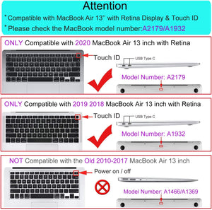 Matte Coating Hard Cover Case for MacBook Air 13 Inch A1932 A2179 - Size Chart
