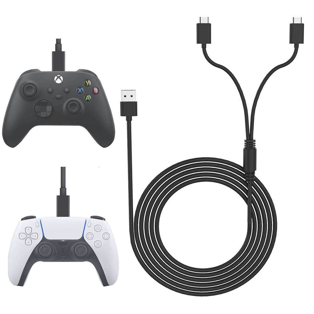 10 FT PS5 USB C Cable Fast Charging for PlayStation Xbox X Controllers 0